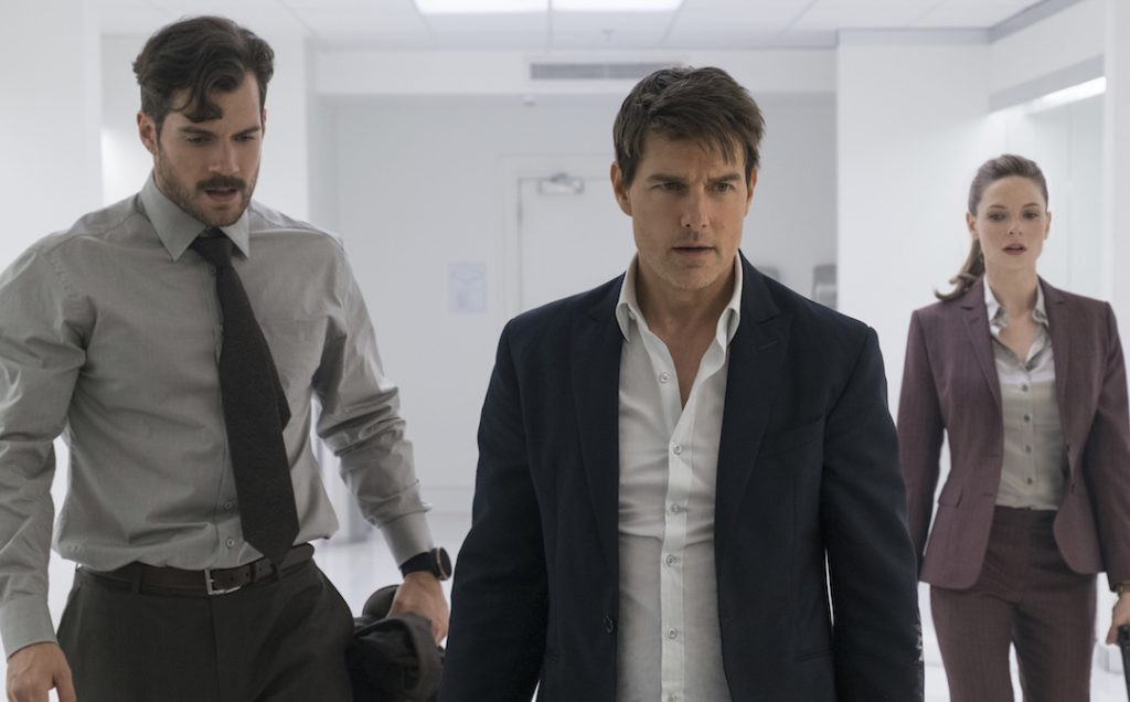 L-R: Henry Cavill, Tom Cruise, and Rebecca Ferguson in 'Mission: Impossible - Fallout' (Credit: Paramount)