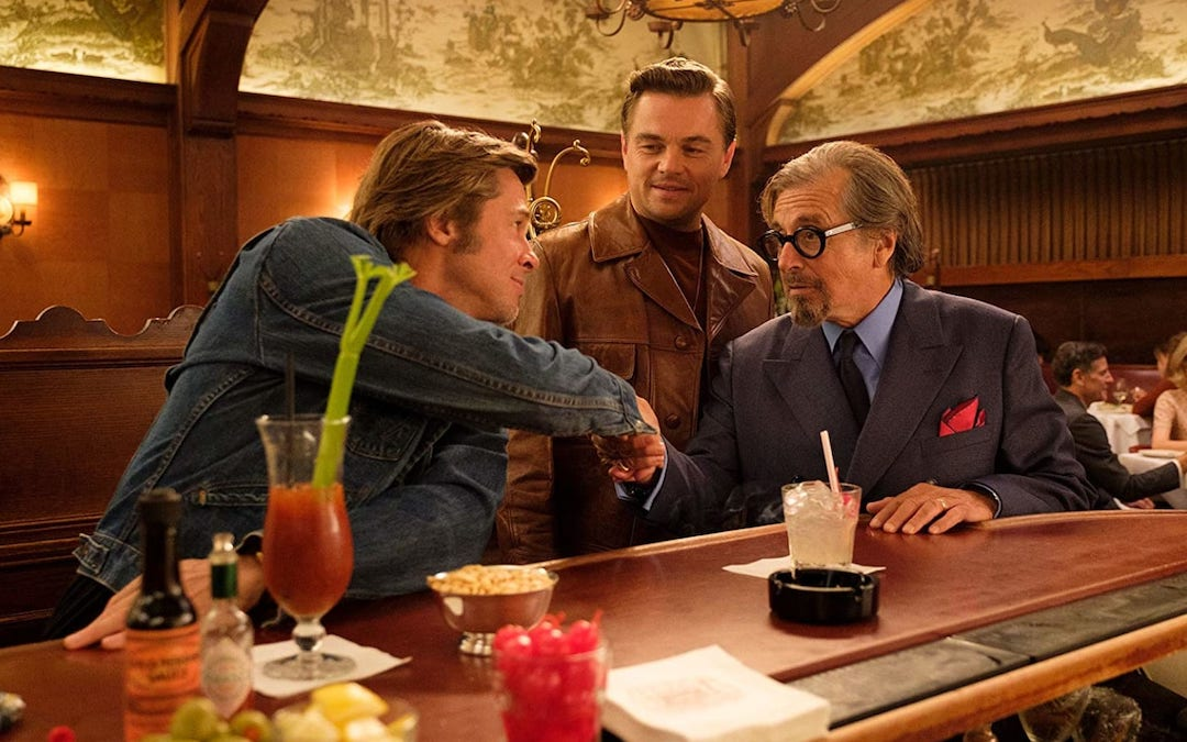 Brad Pitt, Leonardo DiCaprio, and Al Pacino in 'Once Upon a Time in Hollywood' (Credit: Columbia Pictures)